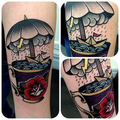 I like the paper boat in the #teacup. I wouldn't get the umbrella though. #tattoo #boat