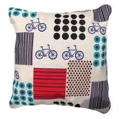 Japanese Pillow Cover Echino Bicycles Dots by AnyarwotDesigns, $25.00