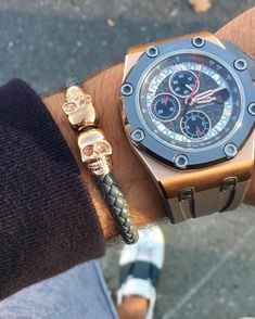 Fan Instagram Pic ! | While in his Valentino Color Block Sneakers @eyk62 posted a cool photo of his limited edition Rose Gold Audemars Piguet Royal Oak Offshore Schumacher Watch nicely paired with our Grey Nappa Leather & Rose Gold Twin Skull Bracelet. Great combo| Available at Northskull.com | For a chance to get featured post a cool photo of your Northskull jewelry with the tag #Northskullfanpic on Instagram.