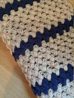 Crochet Blanket- Crochet Afghan - Chunky Afghan -Chunky Blanket - Navy Blanket - Blue Blanket  - Tan Blanket by MadeBySusie4U on Etsy