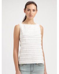 Tory burch Imogen Tiered Ruffle Sleeveless Top in White | Lyst