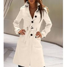 Turn-Down Collar Double-breasted Jag Long Edition Cashmere Solid Color Women's Coat, WHITE, M in Jackets & Coats | DressLily.com