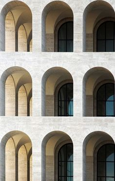 Palazzo della Civiltà Italiana, EUR, Rome. Designed in 1937 for the 1942 World's Fair by Italian architects Giovanni Guerrini, Ernesto Bruno La Padula and Mario Romano