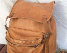 Diestressed Great Worn Patina Vintage Genuine Beckmann Tan Leather Backpack Camping Hiking Rucksack Pack Bag Made in Norway