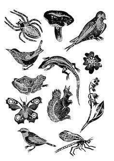 Lino prints by Hazel Partridge, nature, design, illustration, printmaking, lino cut, print, bird, squirrel, mushroom, woodland