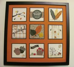Lynn's autumn sampler using Cheer All Year, Acorny Thank You, Among the Branches, Happy Scenes, Vintage Leaves, Woodland embossing folder, & more - all from Stampin' Up!
