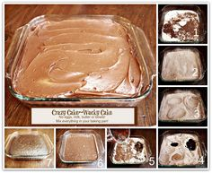 CRAZY CAKE, also known as Wacky Cake & Depression Cake- No Eggs, Milk, Butter,Bowls or Mixers!!! Crazy Moist & Good! Great activity to do with kids! Go to recipe for egg/dairy allergies. Recipe dates back to the Great Depression. It's really good cake!