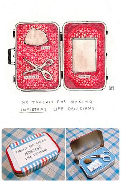 """Rock Paper Scissors Graduation Gifts. Every year I post these because I like them so much. Top Photo:""""Don't Leave Home Without It"""" by Sirin Thada. Print at Society6. Bottom Photo: DIY Rock Paper Scissors Toolkit in an Altoids Tin fromerikaglover. You could also combine the print with thisEtsy $21 Rock Paper Scissors Necklace here.  Or Make your own rock paper Spock necklace using a toy lizard and polymer clay Vulcan salute."""