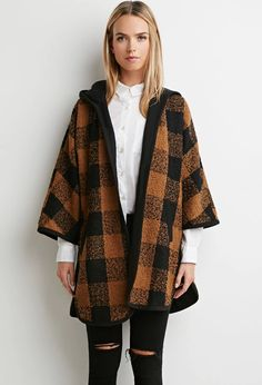 Contemporary Hooded Plaid Jacket | LOVE21 #f21contemporary