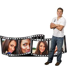 Our Film Strip Photo Standee features four of your favorite photos imprinted on each frame of this film strip.