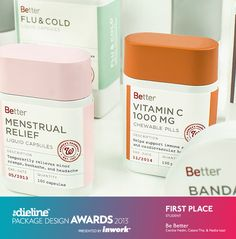 The Dieline Package Design Awards 2013 Winners. The Dieline Package Design Awards are a worldwide competition devoted exclusively to the art of brand packaging. The 2013 competition received over 1100 entries from 61 countries around the world. Drug Packaging, Medical Packaging, Skincare Packaging, Cool Packaging, Bottle Packaging, Brand Packaging, Packaging Design, Branding Design, Types Of Packaging