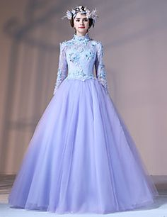Formal+Evening+Dress+-+Vintage+Inspired+Ball+Gown+High+Neck+Floor-length+Lace+Tulle+Stretch+Satin+with+Appliques+Flower(s)+Lace+–+USD+$+570.00