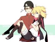 Gender bend -Uzumaki Boruto, Uchiha Sarada, One Eye Showing, Black Armwear