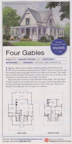 Modern farmhouse floor plan plan 888 1 for Four gables house plan with garage