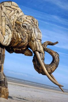Elephant sculpture made from driftwood by South African artist Andries Botha.