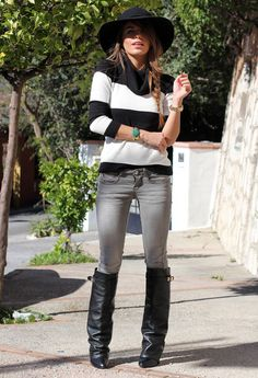 Stripes, skinny jeans, boots, hat and a little bit of colour