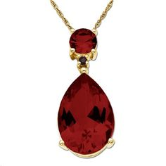 10k Yellow Gold Garnet and Diamond Pendant Necklace,