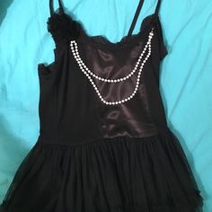 Fun black dress Black dress with pears and black tulu bottom Forever 21 Dresses Midi