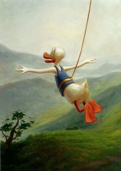 Kaj Stenvall - Lift Me Up, Lord, 2008 Surrealism, Lord, Ducks, Finland, Donald Duck, Paintings, Artists, Illustrations, Fall