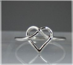 16 gauge heart ring, Sterling Silver Heart Ring, handmade, wire wrapped, dainty sterling silver ring, heart knot
