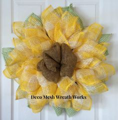 Paper Mesh Sunflower Deco Mesh Sunflower by DecoMeshWreathWorks