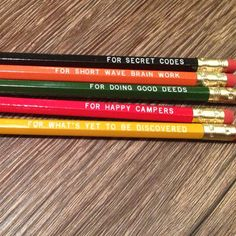 secret codes, brain work, good deeds, happy campers and discovery   pencils from Slideshow Press!