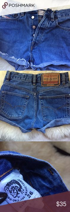 "High waisted shorts 26"" Diesel brand size 26"" waist great condition Diesel Shorts Jean Shorts"