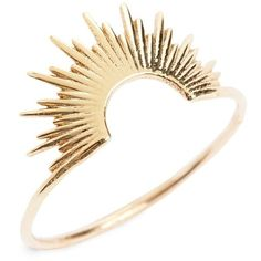 SARAH & SEBASTIAN 'Nimbus' Ring (€370) ❤ liked on Polyvore featuring jewelry, rings, accessories, yellow gold, golden bangles, hinged bangle, gold rings, gold statement ring and gold cocktail ring