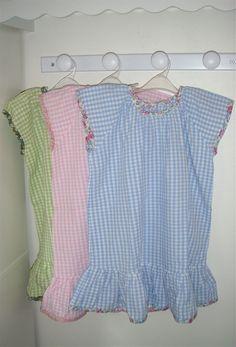 Chemises de nuit fillette vichy et Liberty