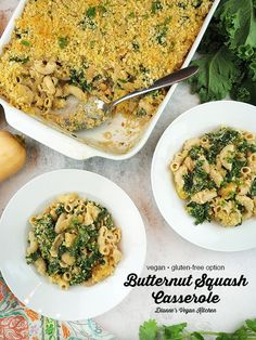 Vegan Butternut Squash Casserole is comfort food at it's finest! Made with pasta, winter squash, kale, white beans, and a creamy sauce, it's the perfect cold weather dinner. It's guaranteed to keep you warm and cozy on chilly evenings. This easy recipe is vegan with a gluten free option.  #vegan #dinner