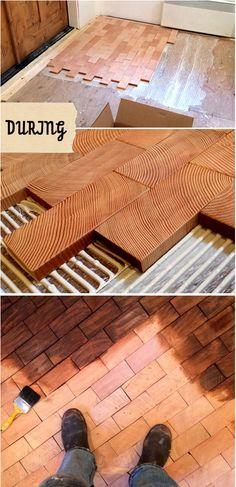 Stylish Affordable DIY End Grain Block Flooring Cartolina/Design Sponge; end grain block flooring in brick-shaped blocks End Grain Flooring, Diy Flooring, Kitchen Flooring, Flooring Ideas, Bathroom Flooring, Wood Block Flooring, Inexpensive Flooring, Woodworking Plans, Woodworking Projects