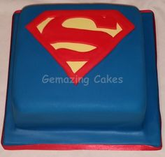 Superman Logo Cake Chocolate cake, chocolate buttercream and hazelnut spread