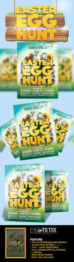 Easter Egg Hunt Flyer Template by EyestetixStudio Feature : Easy customizable and editable300 DPI CMYK setting4鈥漻6鈥? ( 3MM bleed area)100% Layered and Full Editable1 psd filePrint
