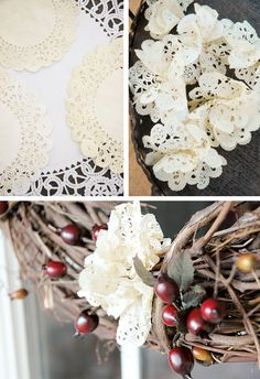 {DIY} Rustic + Vintage Grapevine Wreath with Charming Paper Doily Flowers // Hostess with the Mostess®