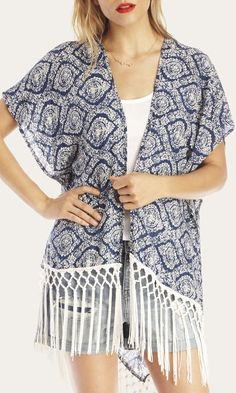 Navy & white paisley-printed kimono with tassels along the bottom
