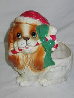 Vintage Christmas Inarco Ceramic Cocker Spaniel Puppy Dog Planter w Candy Cane