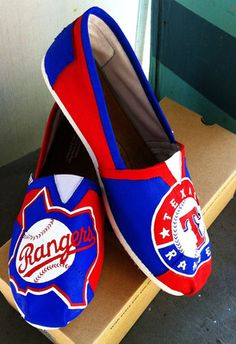 HAND PAINTED TOMS -Texas Rangers | eBay