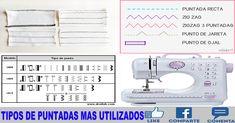 TIPOS DE PUNTADAS MAS UTILIZADOS (Rectos, Zig-Zag y variantes) Sewing, Diy, Ideas, Templates, Vestidos, Sewing Blogs, Sewing Lessons, Sewing Patterns Free, Sewing Tutorials