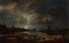 A River near a Town, by Moonlight c.1645 Aert van der Neer b. 1603 d.1677. Dutch landscape painter. Oil on panel. The National Gallery, London.