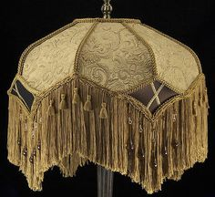 #Victorian #antique gold embossed lampshade with beautiful brown silk #amber bead,  View more on the LINK: http://www.zeppy.io/product/gb/2/390383745058/
