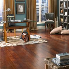 Bring a rich tropical touch to your home with the Mannington Atlantis Prestige- Brazilian Cherry Sun Kissed hardwood flooring. Luxury Vinyl Flooring, Luxury Vinyl Tile, Wooden Flooring, Mannington Flooring, Engineered Hardwood Flooring, Atlantis, Cherry Floors, Brazilian Cherry, Hardwood Tile