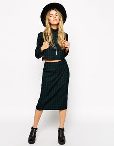 Image 1 of ASOS Reclaimed Vintage CO-ORD Pencil Skirt in Check