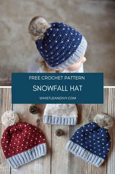 These gorgeous knit-look hats are crochet! The technique is much easier than you think. These will be your favorite hats this season. Get the free crochet pattern! Crochet Beret Pattern, Crochet Adult Hat, Crochet Beanie Hat, Free Crochet, Knitted Hats, Crochet Scarves, Crochet Hooks, Fall Knitting, Modern Crochet Patterns
