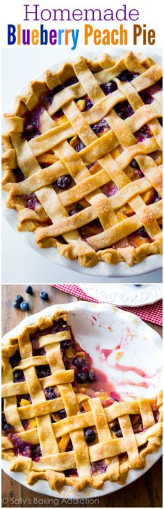 A classic homemade blueberry peach pie bursting with juicy fruits and flavor. You will love this flaky pie crust too!