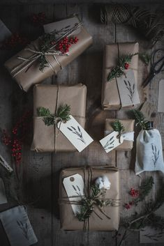 Natural gift wrapping with brown paper.