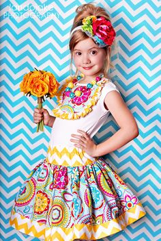 Summer flower chevron twirl skirt for by amysbuttonsandbows, $35.00