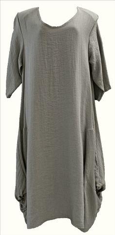 AKH Fashion Lagenlook elegantes Kleid Leinen Viskose in schlamm XL Mode bei www.modeolymp.lafeo.de