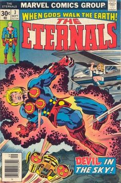 Eternals # 3 by Jack Kirby & Frank Giacoia Marvel Comics, Marvel Dc, Marvel Comic Books, Comic Books Art, Comic Art, Punisher Marvel, Daredevil, Book Cover Art, Comic Book Covers