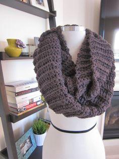 Cozy Dark Grey Crochet Infinity Scarf