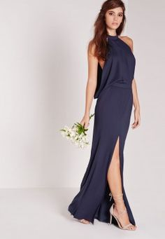 Cowl Back Maxi Dress Navy High Street Bridesmaid Dresses 6bc1092f433a